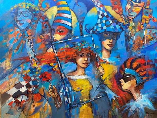 Living room painting by Eugeniusz Ochonko titled  Fantasia del Carnaval I