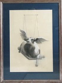 Grafika do salonu artysty Anna Kozłowska pod tytułem Krowa 2 na huśtawce