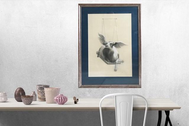 Krowa 2 na huśtawce - wizualizacja pracy autora Anna Kozłowska