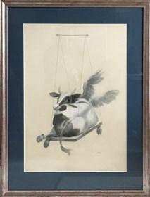 Grafika do salonu artysty Anna Kozłowska pod tytułem Krowa 1 na huśtawce
