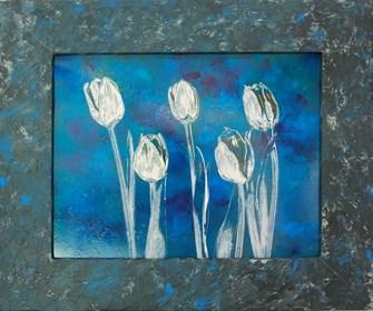Grafika do salonu artysty Wojciech Rogosz pod tytułem Tulipanowy Niebieski Świat