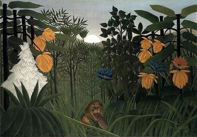 Grafika do salonu artysty HENRI ROUSSEAU pod tytułem Le repas du lion 102/300