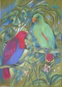Obraz do salonu artysty Maja Wojnarowska pod tytułem Papugi Lory