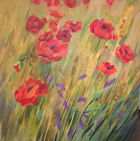 Living room painting by Maja Wojnarowska titled Poppies in grain from Lucien