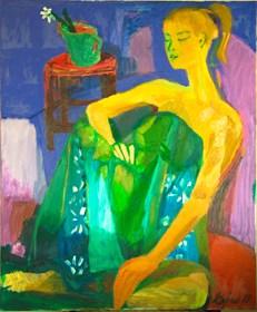 Obraz do salonu artysty Aldona Zając pod tytułem Dziewczyna z białym kwiatem