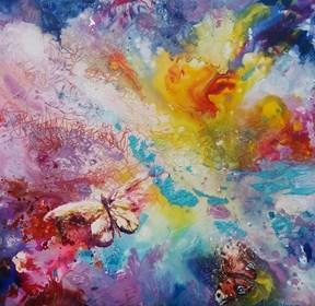 Obraz do salonu artysty Marzena Laura Mazurek pod tytułem W zaczarowanym ogrodzie