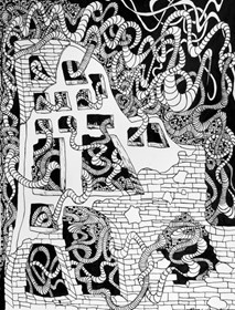 Grafika do salonu artysty Magdalena Szata pod tytułem 9.Za murem. W czasie, kiedy wirus paraliżuje świat, a my jesteśmy zamknięci w domu.
