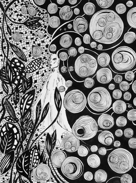 Grafika do salonu artysty Magdalena Szata pod tytułem Unieś się ze sztuką.
