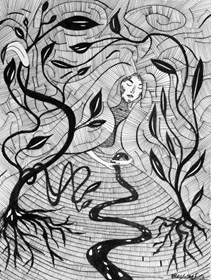 Grafika do salonu artysty Magdalena Szata pod tytułem PACHAMAMA. Matka Ziemia.