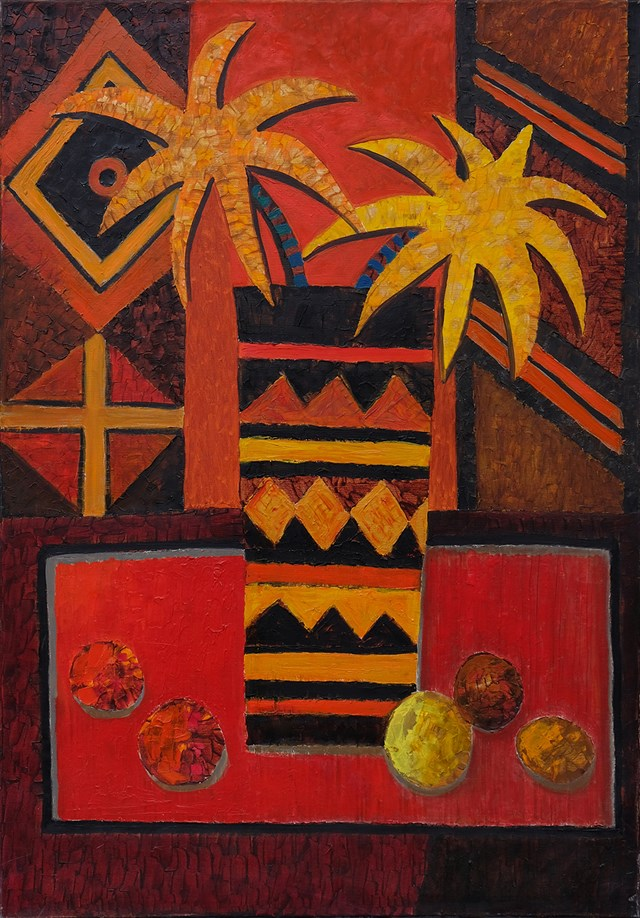 Living room painting by Elżbieta Ostrowska-Łysak titled Yellow stars