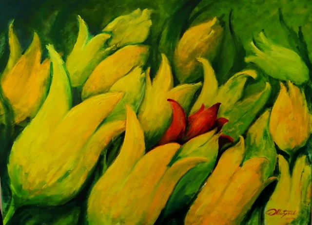 Obraz do salonu artysty Zbigniew Matysek pod tytułem Tulipany