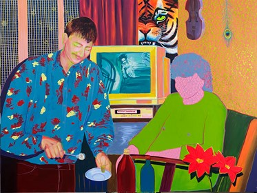 Living room painting by Martyna Domozych titled Hit, sunk