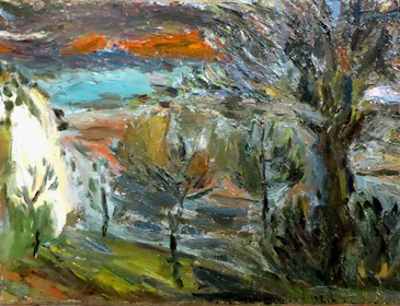 Living room painting by Waldemar Szauer titled Castel Fidardo