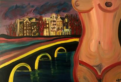 Obraz do salonu artysty Agnieszka Alpin pod tytułem 'Selfie w Amsterdamie'