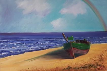 Obraz do salonu artysty Agnieszka Alpin pod tytułem Morze z łódką
