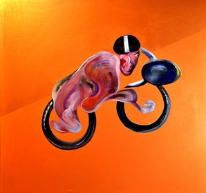 Obraz do salonu artysty Marcin Lipiec pod tytułem Piotr na motocyklu
