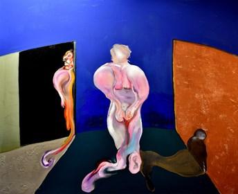 Obraz do salonu artysty Marcin Lipiec pod tytułem postać krocząca z odbiciem