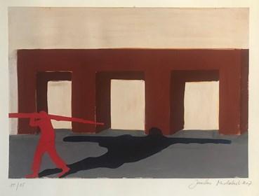 Grafika do salonu artysty Jarosław Modzelewski pod tytułem Niosący ścięte drzewo
