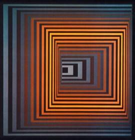 Grafika do salonu artysty Victor Vasarely pod tytułem vonal-fegn