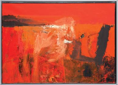 Obraz do salonu artysty Krzysztof Rećko-Rapsa pod tytułem Kompozycja w czerwieni