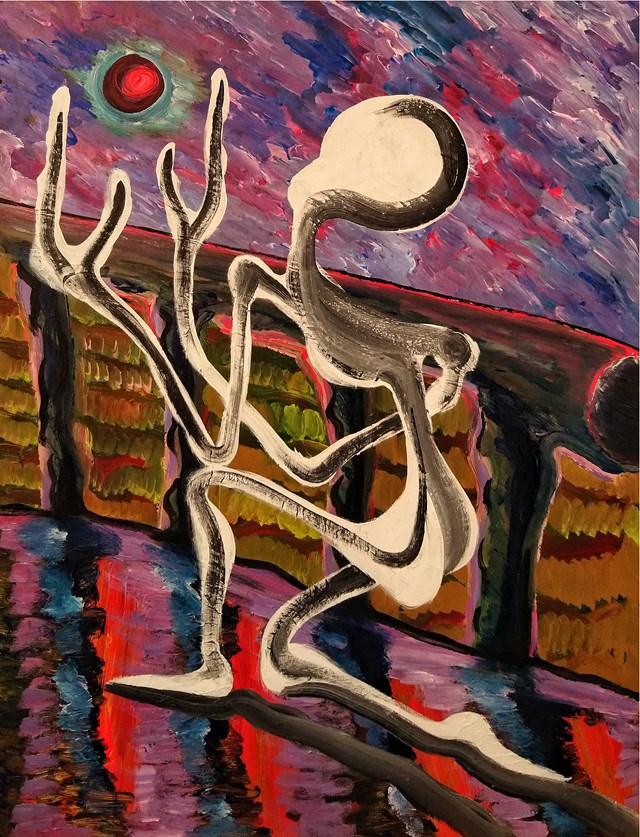 Living room painting by Wojciech Mazek titled Prayer