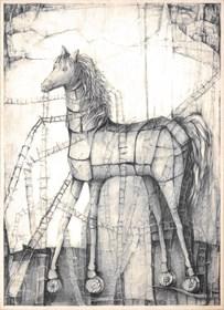 Grafika do salonu artysty Barbara Bakalarska pod tytułem Koń Trojański