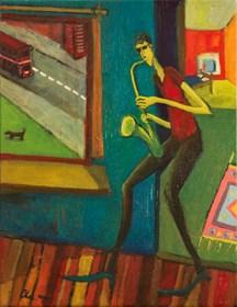 Obraz do salonu artysty Aleksandra Woźniak pod tytułem Saksofon