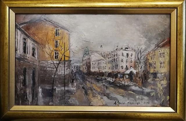 Living room painting by Anna Spałek-Młynarczyk titled Cracow, Stradomska street