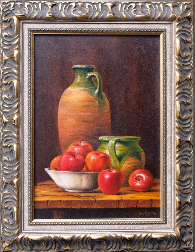 Living room painting by Laura Avetisyan titled Still life with jug and apples