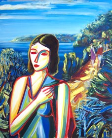 Obraz do salonu artysty Maciej Cieśla pod tytułem Dziewczyna spotkana u wybrzeża Toskanii