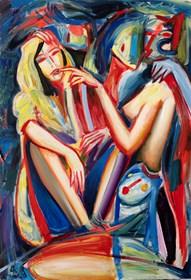 Obraz do salonu artysty Maciej Cieśla pod tytułem Dziewczyna las i koszmary