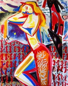 Obraz do salonu artysty Maciej Cieśla pod tytułem Dziewczyna i pies