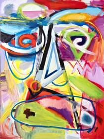 Obraz do salonu artysty Maciej Cieśla pod tytułem Portret prymitywny- archetyp forma i kolor