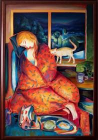 Obraz do salonu artysty Maciej Cieśla pod tytułem Zimowy wieczór, dziewczyna pod kocem- rama ciemny dąb