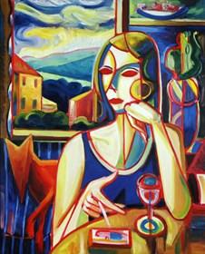 Obraz do salonu artysty Maciej Cieśla pod tytułem Papieros w upalne południe