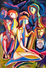 Obraz do salonu artysty Maciej Cieśla pod tytułem Noc i duchy lasu