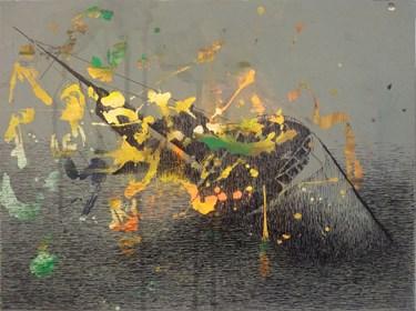 Obraz do salonu artysty Maciej Szczurek-Maksymiuk pod tytułem Czekaj. Statek tonie, rozstaje się z uśmiechem