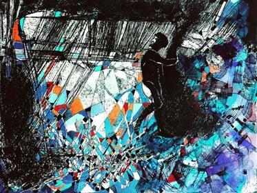 Grafika do salonu artysty David Razma pod tytułem Poszukując