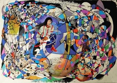 Obraz do salonu artysty David Razma pod tytułem Dziewczyna z psem