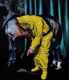 Living room painting by Szymon Kurpiewski titled If you ever get close to a human behavior