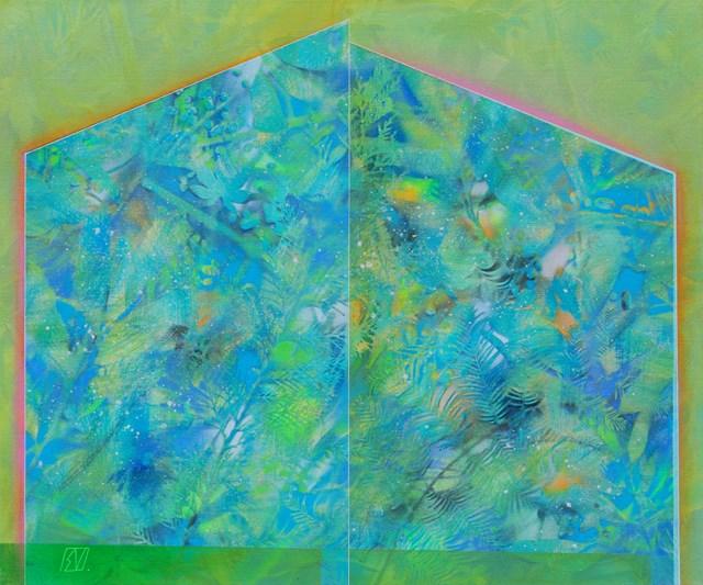 Living room painting by Serge Vasilendiuc titled Greenhouse