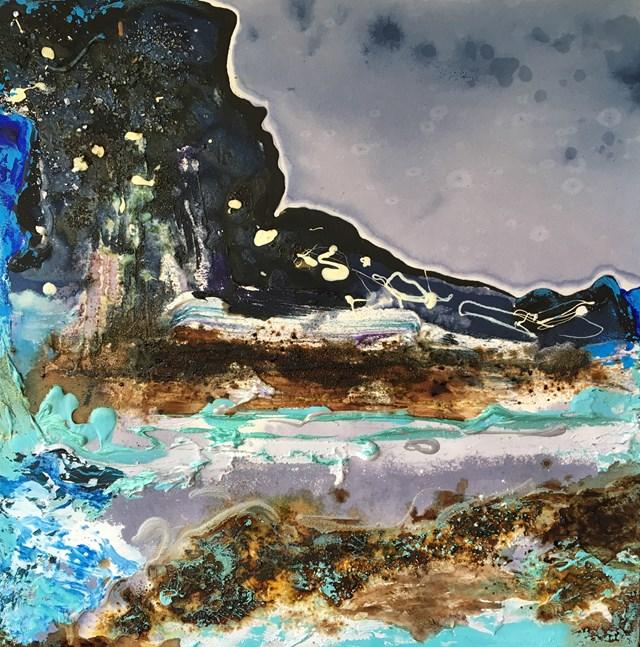 Obraz do salonu artysty Anita Grobelak pod tytułem Gradacja żywiołów II – ziemia i woda