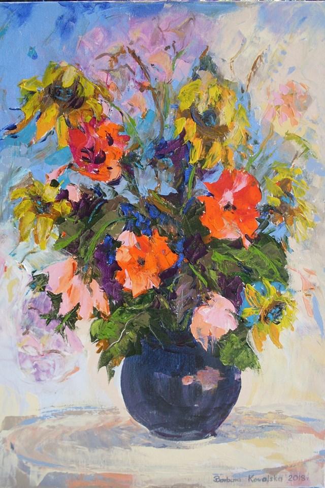Obraz do salonu artysty Barbara Kowalska pod tytułem kwiaty w wazonie