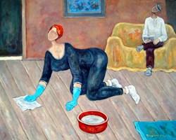 Obraz do salonu artysty Henryk Trojan pod tytułem Wnętrze z turkusowym dywanem