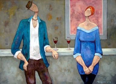 Obraz do salonu artysty Henryk Trojan pod tytułem Bar z różowym obrazem