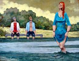 Living room painting by Henryk Trojan titled  Sudden disturbance of balance