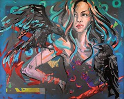 Living room painting by Kamila Jarecka titled Ravens