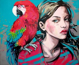 Living room painting by Kamila Jarecka titled Parrots