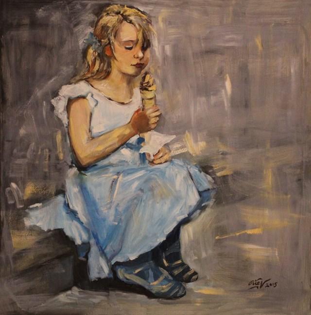 Living room painting by Hong Diep Loi titled Blue joy