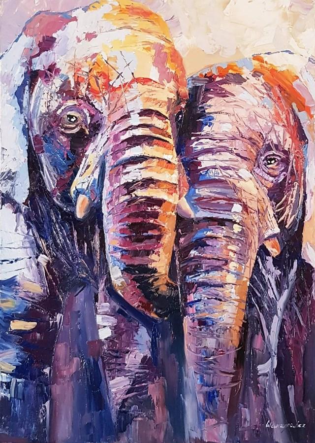 Obraz do salonu artysty Zofia Wawrzynowicz pod tytułem Elephants